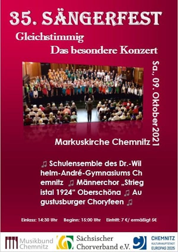 Plakat 35. Sängerfest des MBC Gleichstimmig Das besondere Konzert